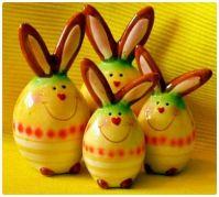 Happy Easter Ceramic Bunny Family