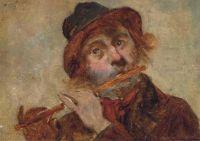 English School, 19th century,  A Flute Player