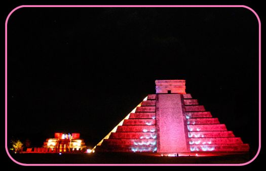 Ancient Myan Pyramids lit up for Breast Cancer Awareness - Yucatan, Mexico