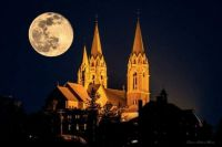 With a Snow Moon overhead, Holy Hill looks even more spectacular than usual.