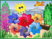 Beach life for suntanning flowers