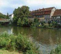 """Fisherman's """"Cottages"""" on the Regnitz River in Bamberg, Germany."""