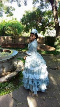 Beautiful Zuri in 1870's costume she made by hand