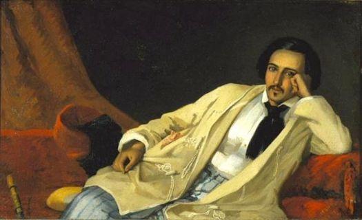 Hans Johan Fredrik Berg (Norwegian, 1813–1874), Man Reclining in a Turkish Robe (1848)