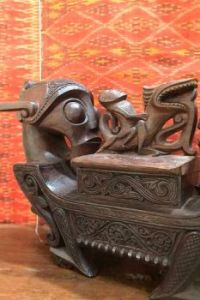 Carved wooden storage box - The Batak people of Borneo and Sumatra.