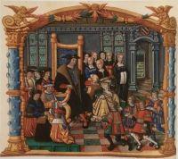 Les prétendants à la main de Marie de Bourgogne. Miniature des Mémoires de Philippe de Commyne.