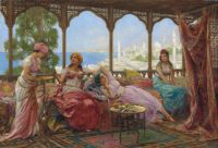 Fabio Fabbi (Italian, 1861-1946)  Resting on a terrace overlooking a Middle Eastern coast