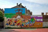 Astérix and Obélix Comic Strip Wall in Brussels