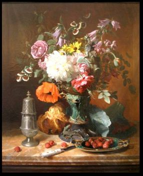 Still Life with Flowers and Fruit by David Emile De Noter