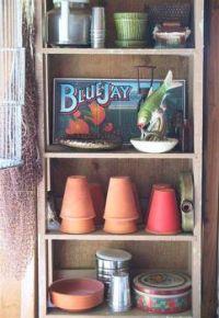 closet of flower pots