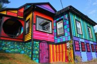 Rainbow coloured house in the woods
