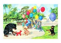 Themes Vintage illustrations/pictures - The dog Carl and Balloons