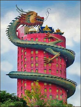 Dragon Building in Wat Samphran