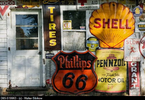 Old gas station and signs