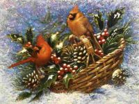 Cardinals in Basket of Holly