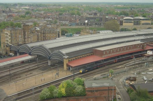 Aerial view of York railway station