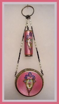 Pink sterling and guilloche enamel necessaire