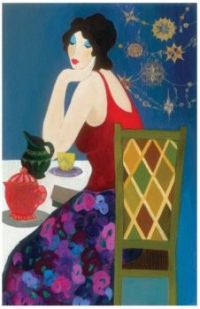 Lady Contemplates In A Beautiful Setting                         Isaac Maimon