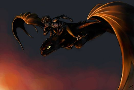 Hiccup and Toothless - Twilight Flight
