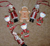 Seasonal - Christmas Tree Trims - Ceramic - Santas & Gingerbread Man