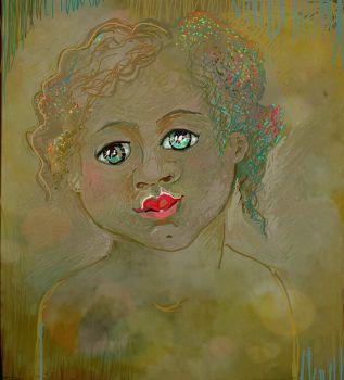 Her first lipstick (Digital drawing - ArtRage app )