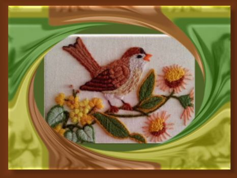 Happy little bird - embroidered