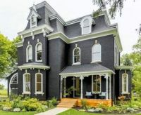 Charcoal coloured Victorian home