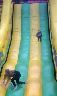 Amelie and Sienna on the Big slide