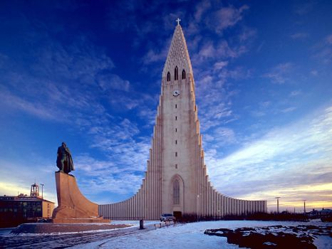 front view of the Hallgrimskirkja Cathedral - Reykjavik, Iceland (1945-1986)