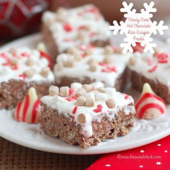 Candy Cane Hot Chocolate Rice Krispie Treats