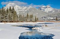 Yellowstone National Park: Absaroka range with Soda Butte Creek in foreground