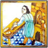 Glazed Wall Art Tile Depicting Centuries Ago, the Art of Baking Bread
