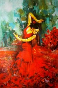 Red Art: Dancing Lady in Red
