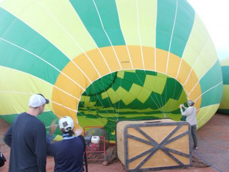 Southwest! Sedona Az. Hot Air Balloon Ride. Filling the balloon