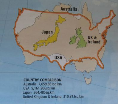 An interesting map comparing country sizes.