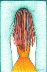 Her Multicolored Hair and Orange Dress