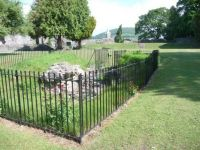 The fenced off cellars of Abergavenny Castle.