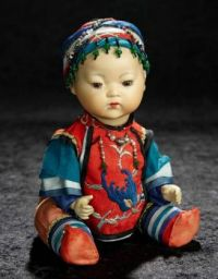 German Amber Bisque Portrait of Chinese Baby, by  Armand Marseille
