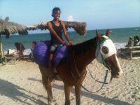 On a beach in Jamaica