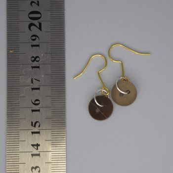 brown button earrings small