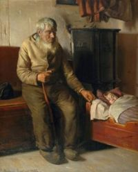 "Michael Ancher, ""Blind Kristian Minding a Child"", 1885"