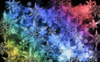 Rainbow of snowflakes