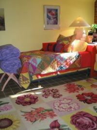 My Colorful Basement...about 4 years ago. This bed used to slide halfway under the corner table.