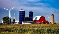 farm and wind turbines Iowa