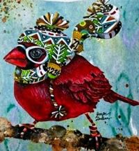 Winter cardinal illustration by Jennifer Lambein