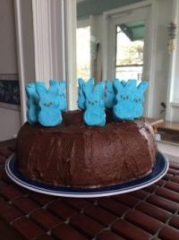 Easter cake with peep bunnies