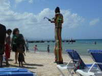 Stilts man in the Caribbean