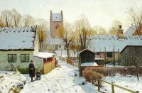 "Peder Mørk Mønsted,  ""Sunshine in the Village on a Winter's Day"", 1923"