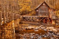 WATER MILL IN FALL...AND A BRIDGE