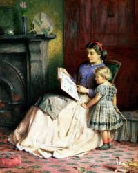 Mother reading to her child , George Goodwin Kilburne